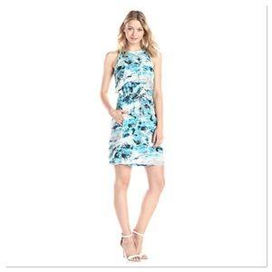 Calvin Klein Opal Printed Drawcord Halter Dress S